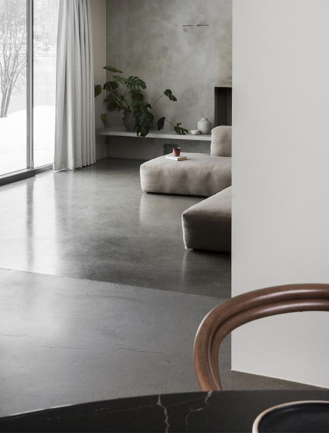 Gjøvik, Boden, Sichtbeton, grau, Wohnzimmer