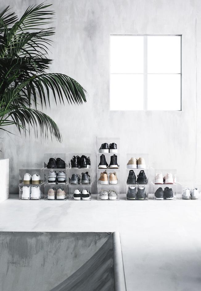 Ikea, Spänst Kollektion, Chris Stamp, Schuhboxen, durchsichtig, Plastik, Turnschuhe