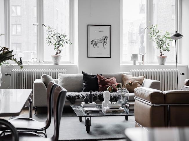 Wohnen, Industriegebäude, Wohnzimmer, Sofa, Serge Mouille Stehlampe