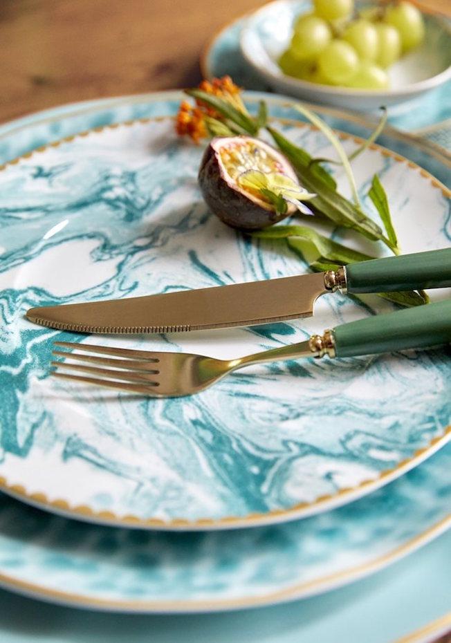 Rice, Teller, Porzellan, marmoriert, blau, Besteck, gold