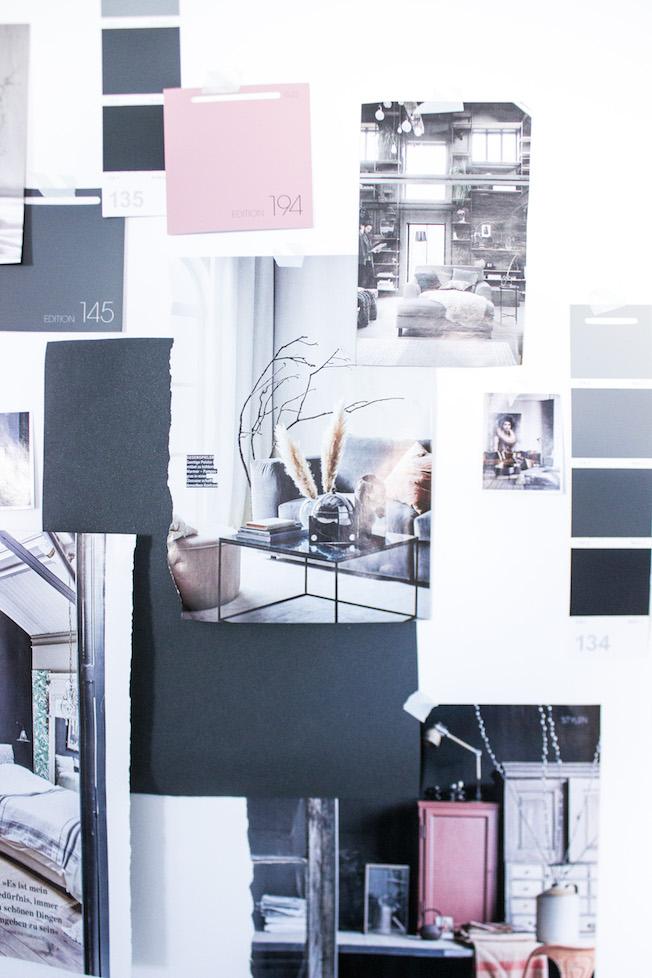 Moodboard, Arbeitszimmer, dunkelgrau, puderrosa